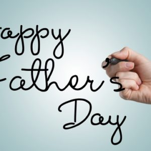 happy fathers day hand writing on glass mirror